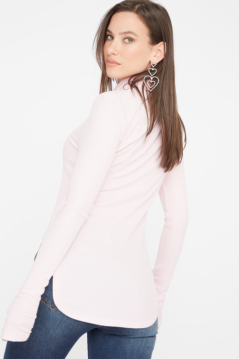 Thermal Turtleneck Long Sleeve Tunic Top Light Pink