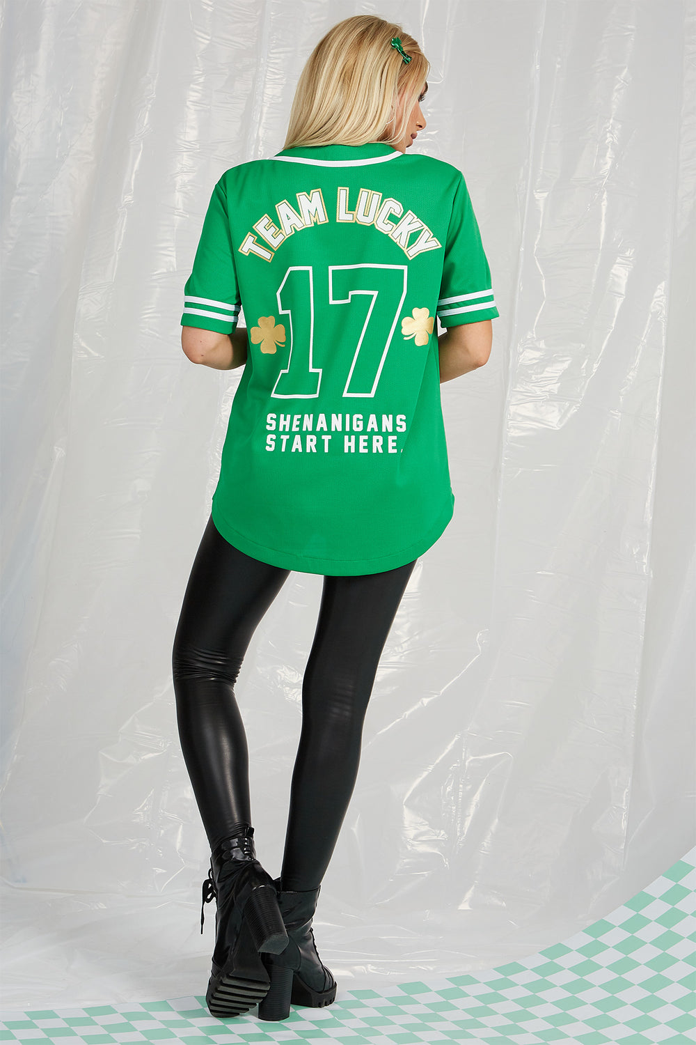 St. Patrick's Day Lucky Baseball Jersey Green