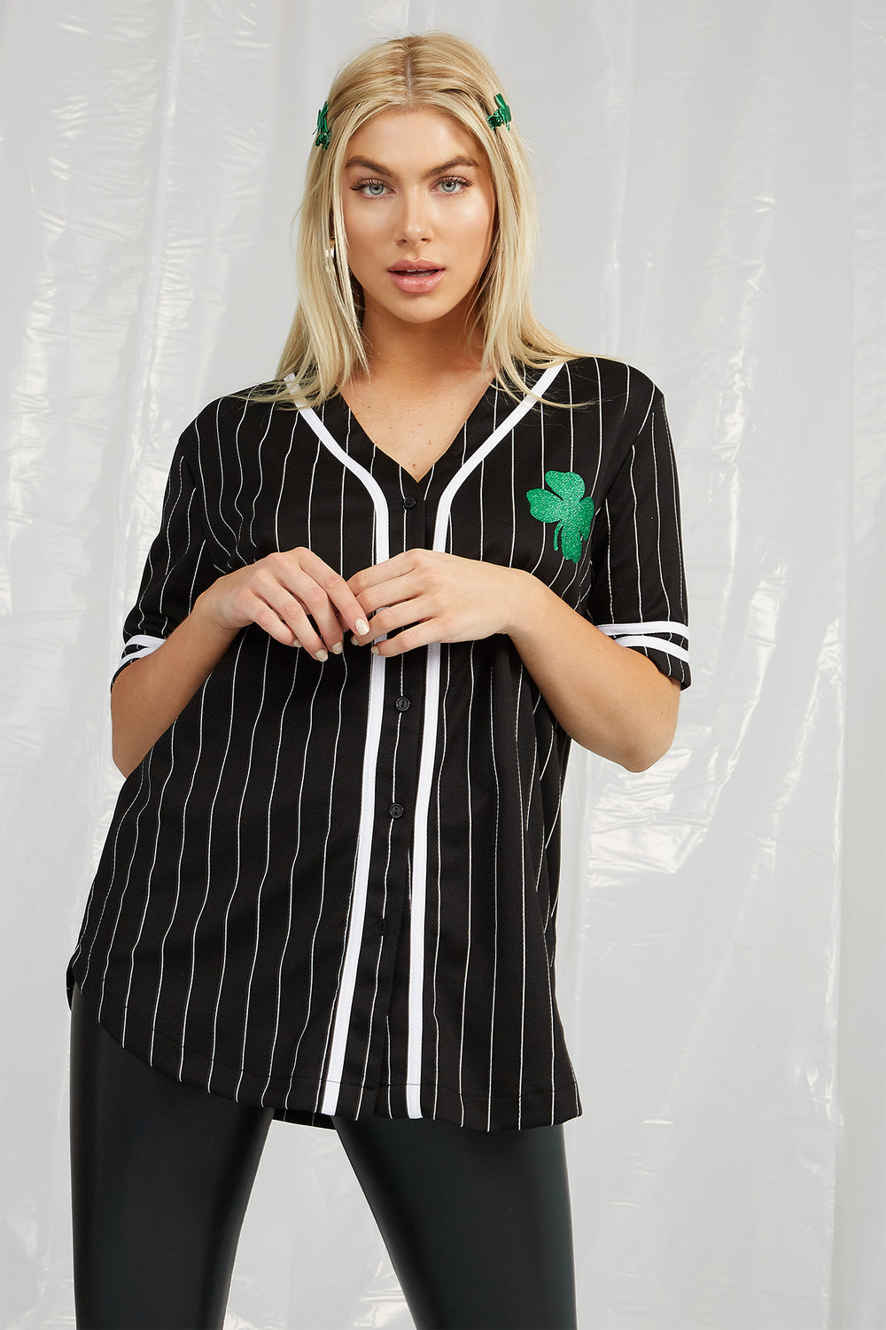 St. Patrick's Day Lucky Baseball Jersey Black with White