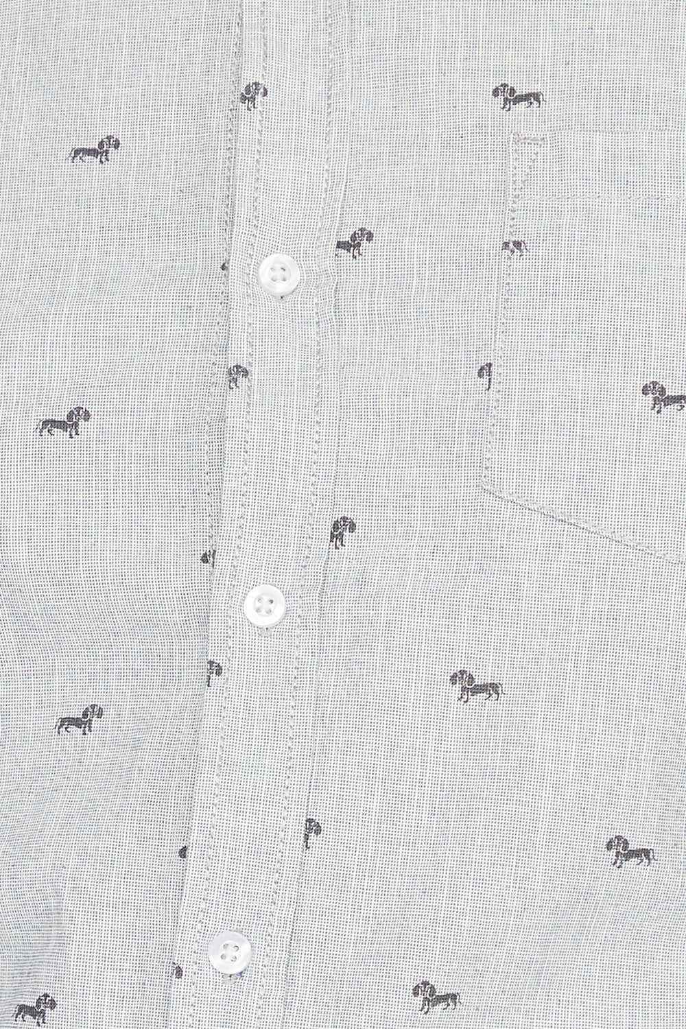 Micro Print Short Sleeve Button-Up Shirt Light Grey
