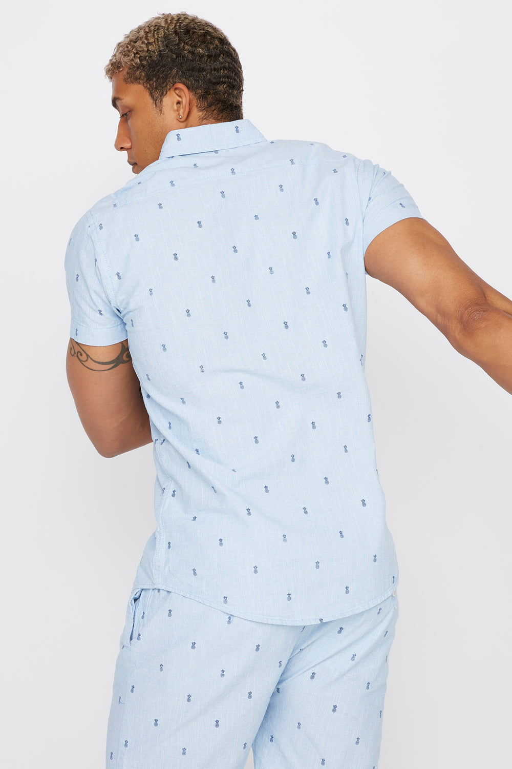 Micro Print Short Sleeve Button-Up Shirt Blue