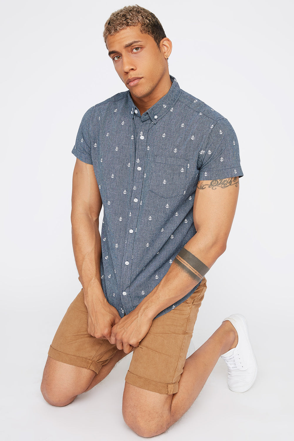 Micro Print Short Sleeve Button-Up Shirt Navy