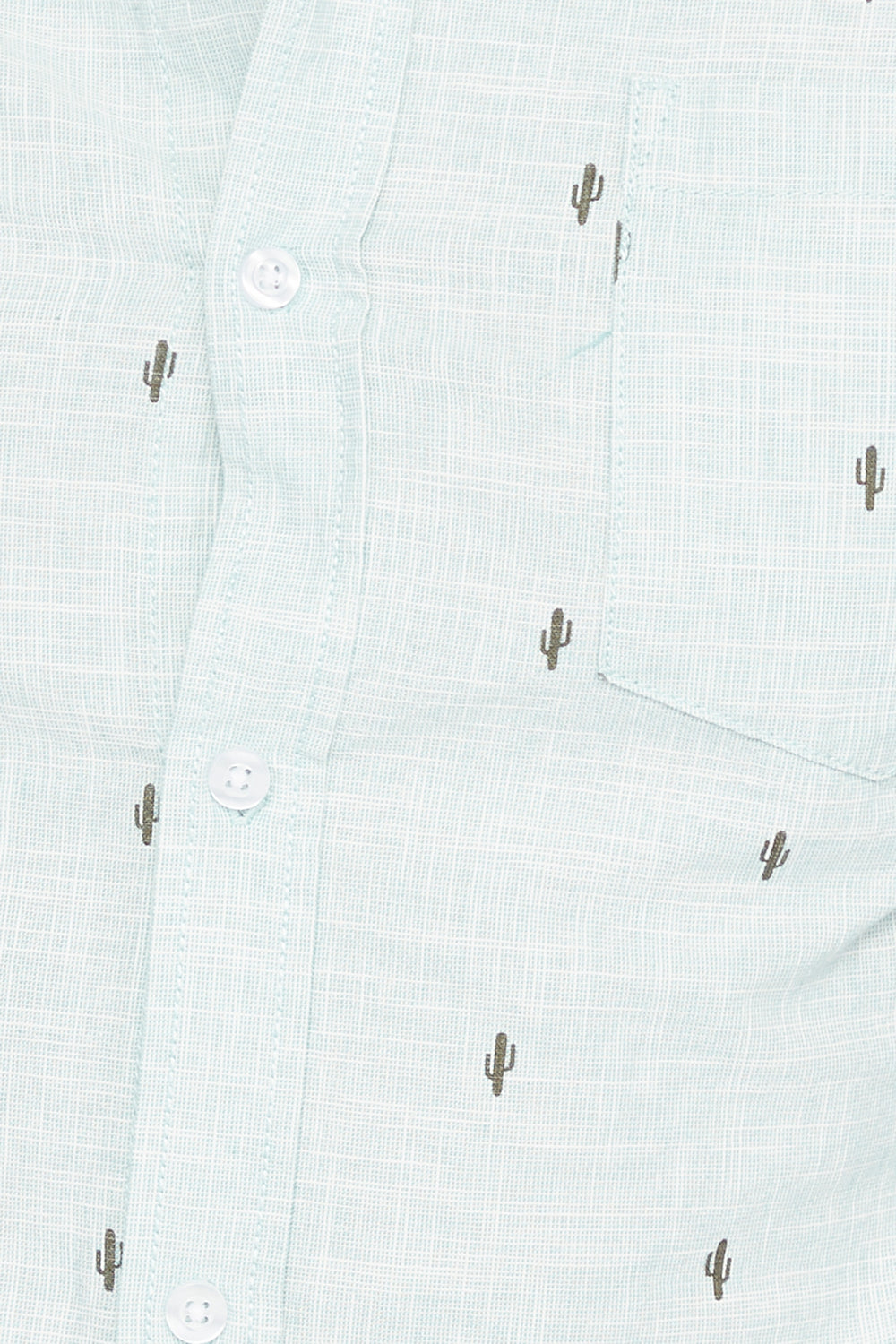 Micro Print Short Sleeve Button-Up Shirt Sage