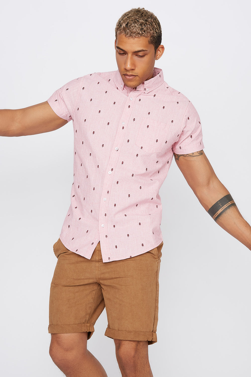 Micro Print Short Sleeve Button-Up Shirt Pink