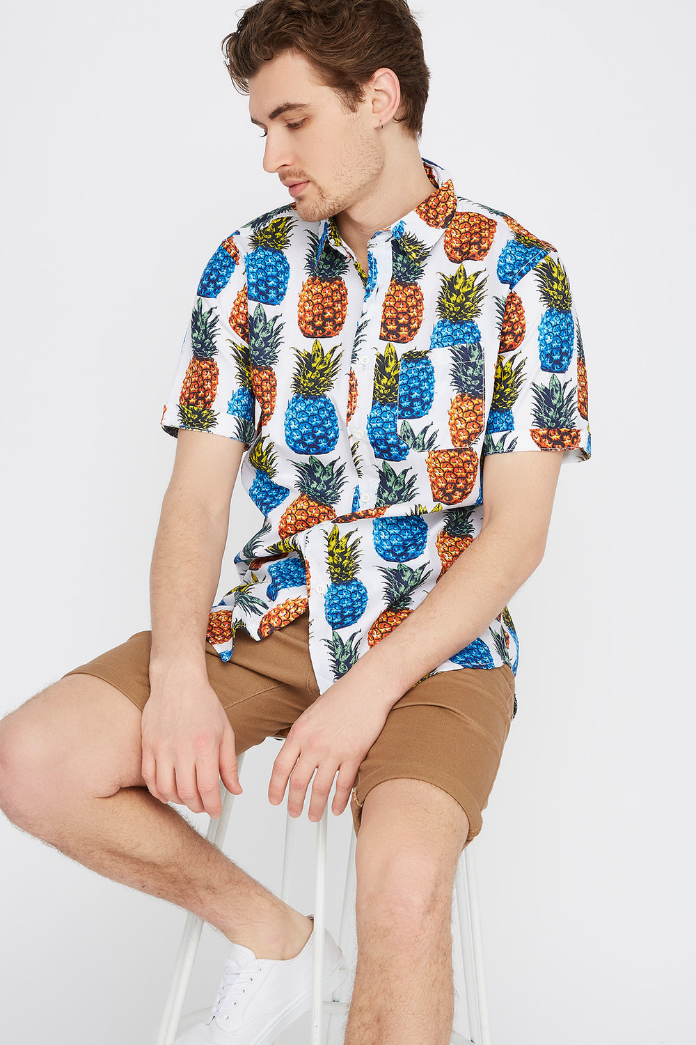 Pineapple Button-Up Short Sleeve Shirt White