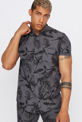 Printed Button-Up Short Sleeve Shirt
