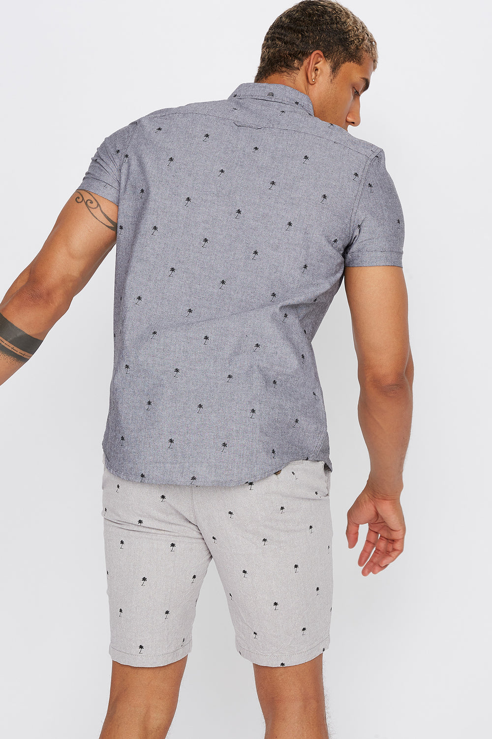 Printed Button-Up Short Sleeve Shirt Heather Grey