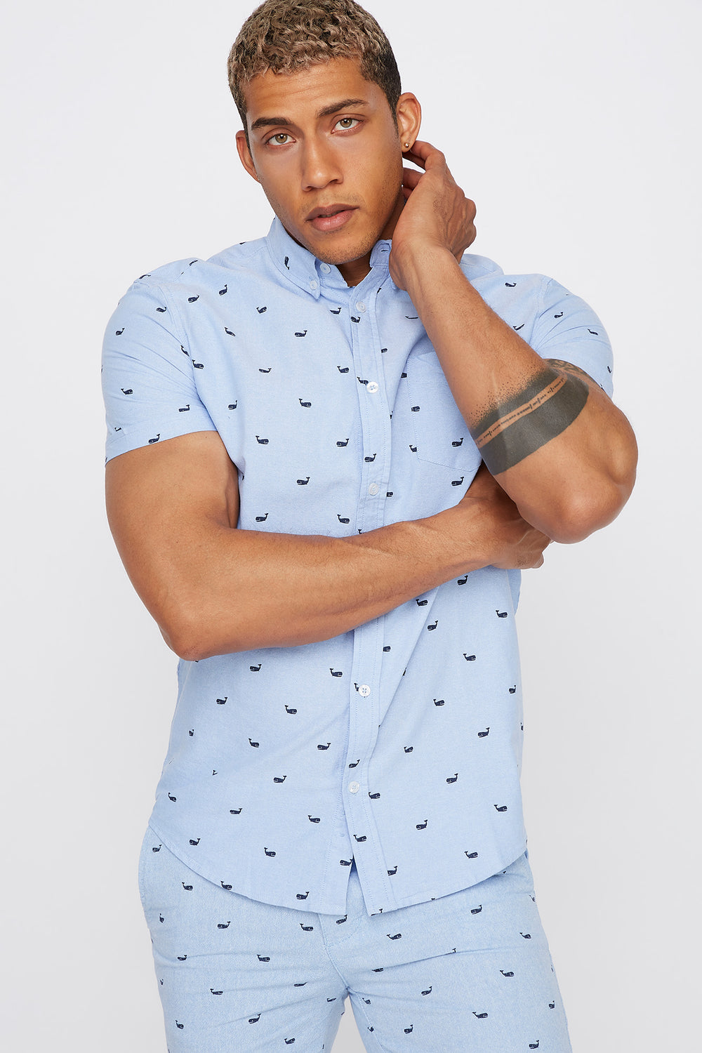 Printed Button-Up Short Sleeve Shirt Light Blue