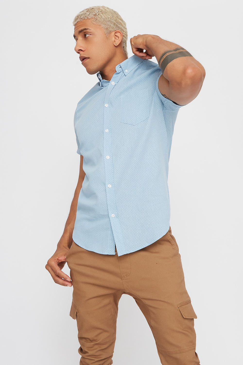 Dotted Button-Up Short Sleeve Shirt Blue