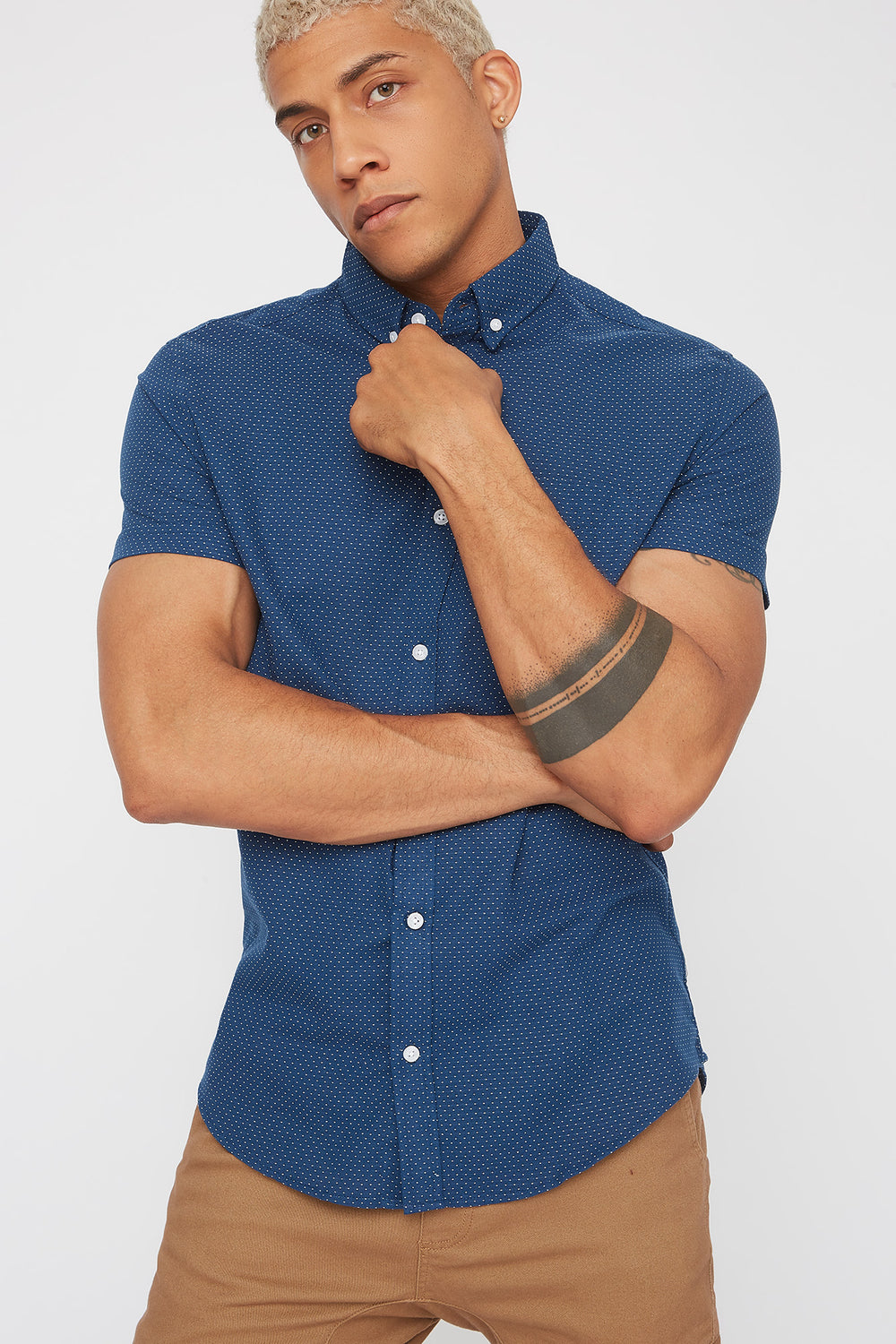 Dotted Button-Up Short Sleeve Shirt Navy
