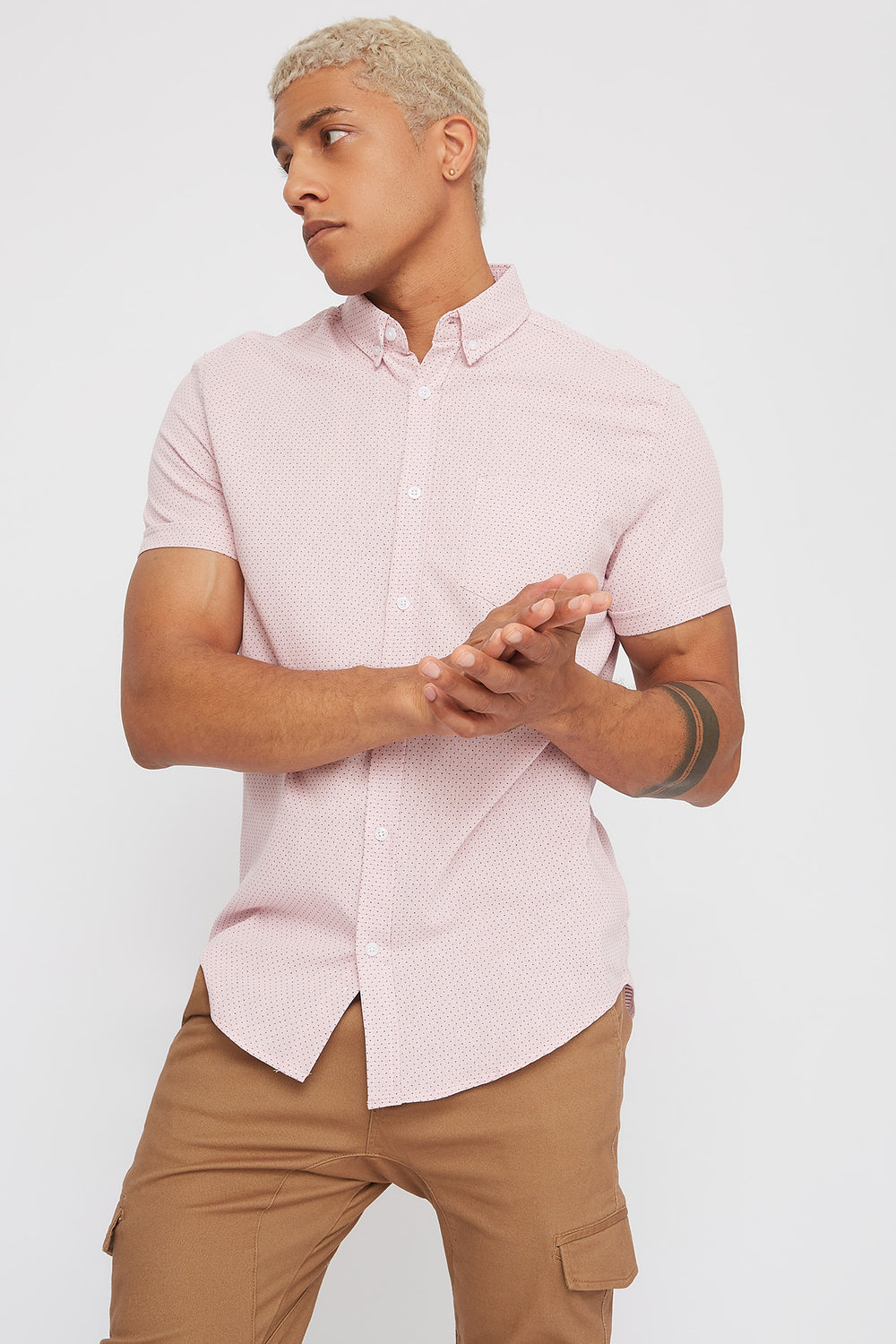 Dotted Button-Up Short Sleeve Shirt Pink