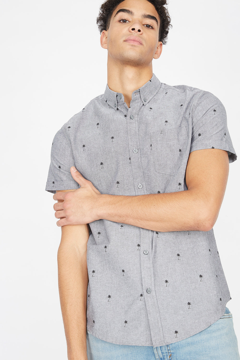 Palm Tree Ditsy Printed Button-Up Oxford Short Sleeve Top Heather Grey