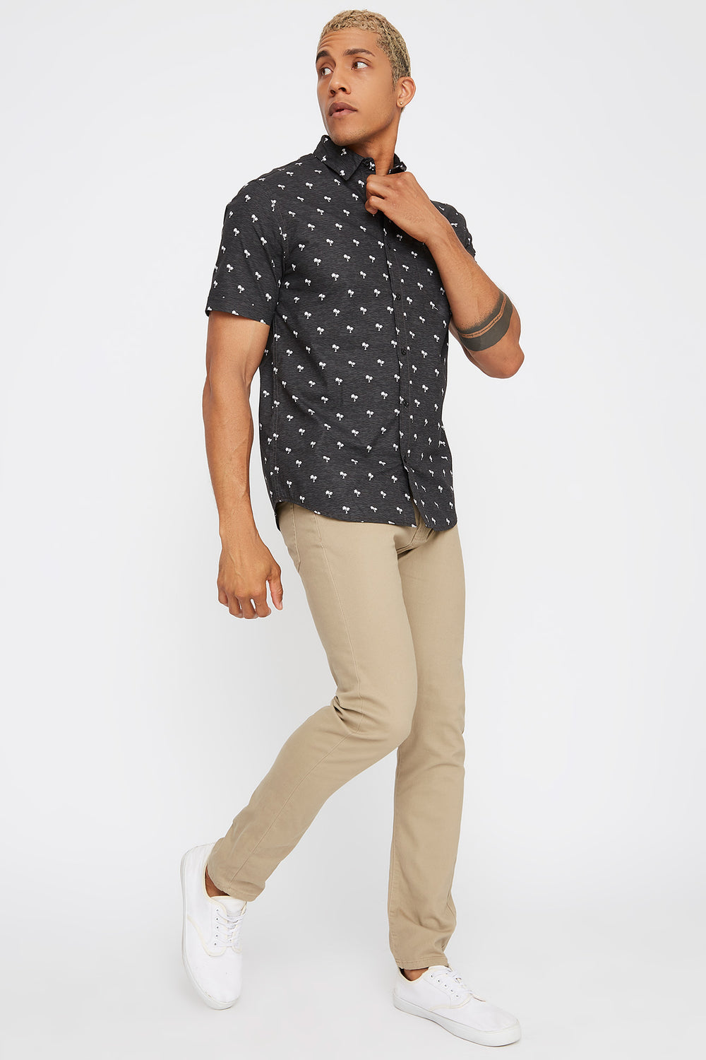 Printed Pocket Button-Up Short Sleeve Shirt Charcoal