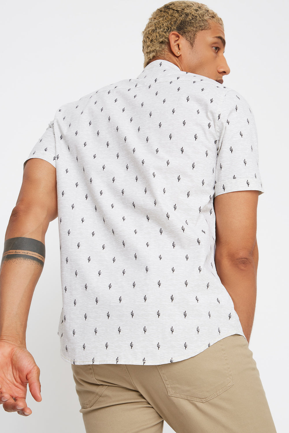 Printed Pocket Button-Up Short Sleeve Shirt Heather Grey