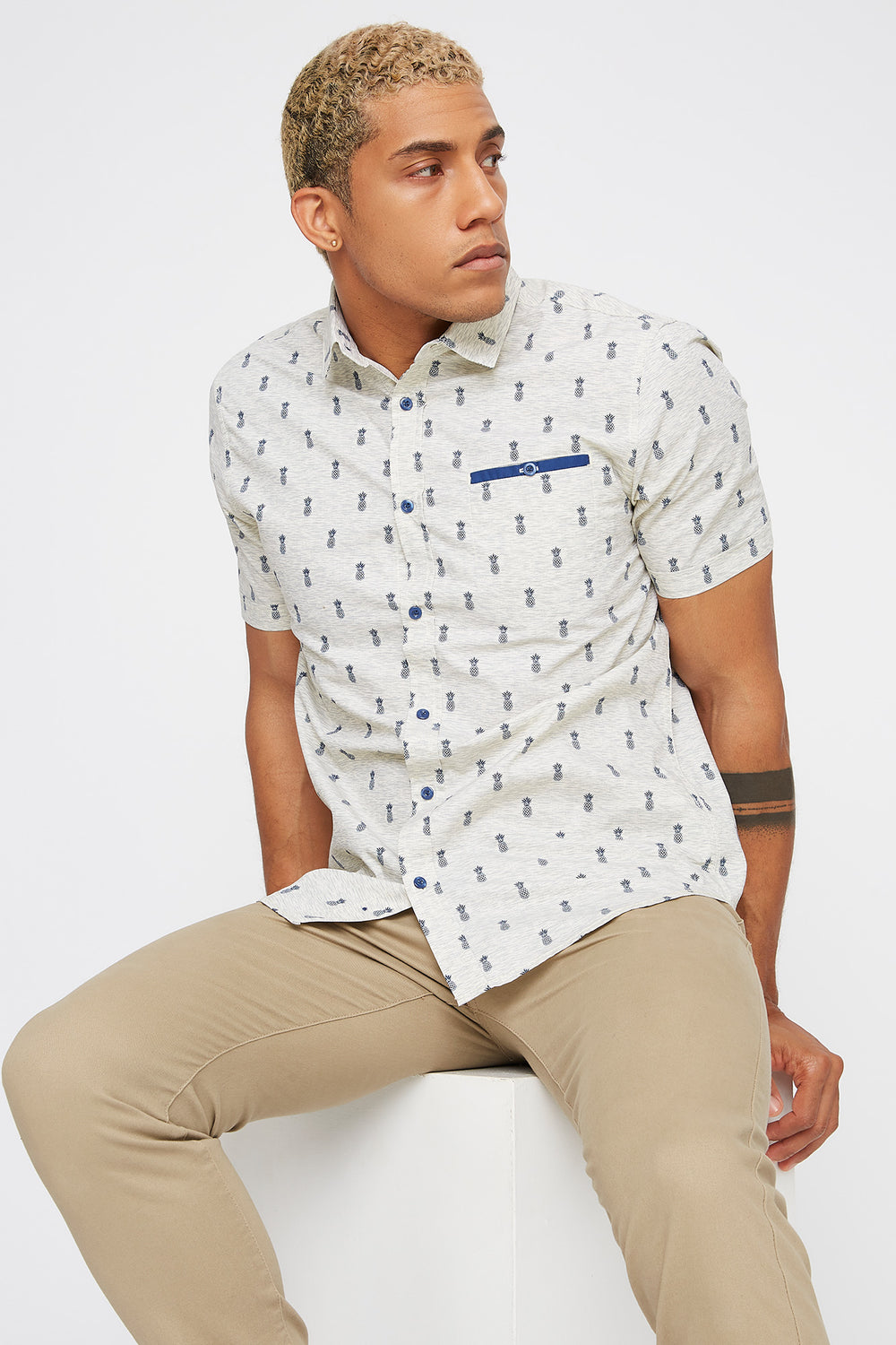 Printed Pocket Button-Up Short Sleeve Shirt Oatmeal