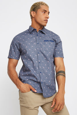 Printed Pocket Button-Up Short Sleeve Shirt