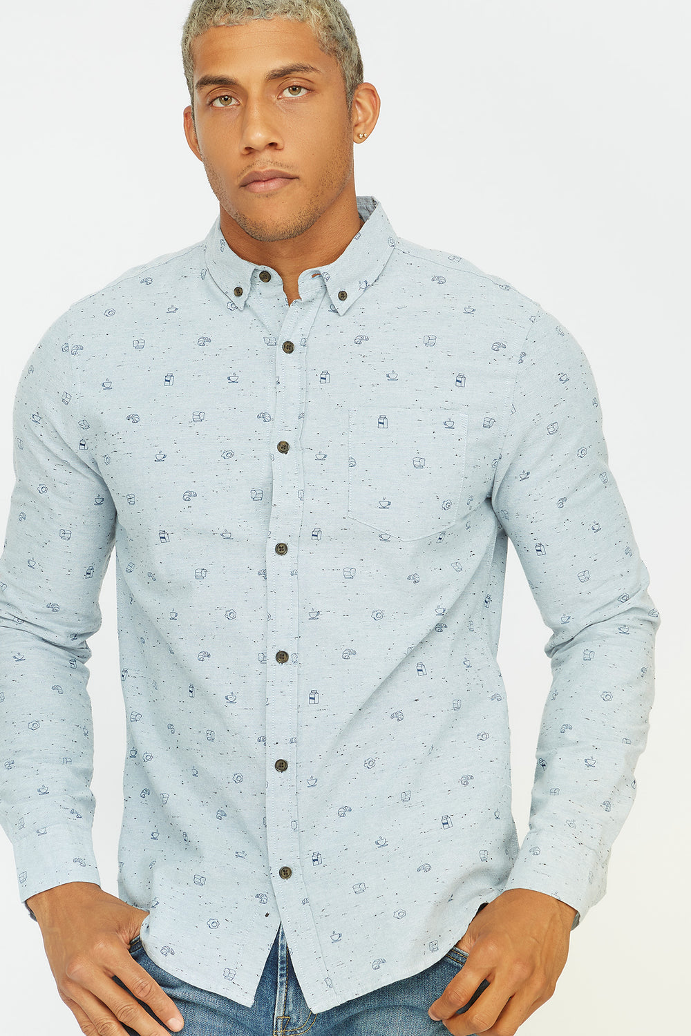 Printed Button-Up Front Pocket Long Sleeve Shirt Blue
