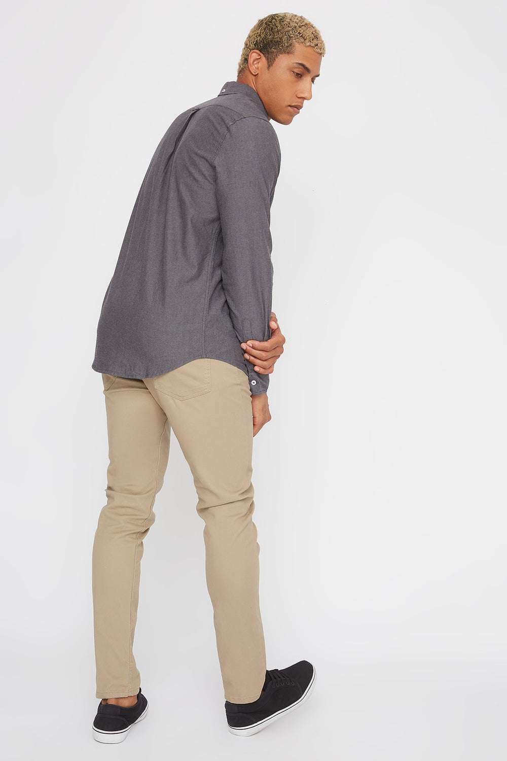 Solid Long Sleeve Button-Up Shirt Charcoal