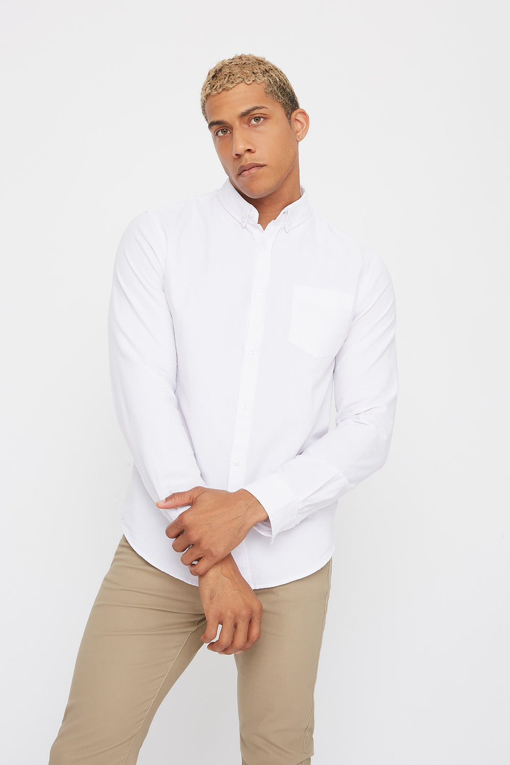 Solid Long Sleeve Button-Up Shirt White