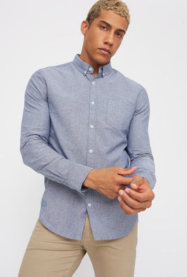 Solid Long Sleeve Button-Up Shirt