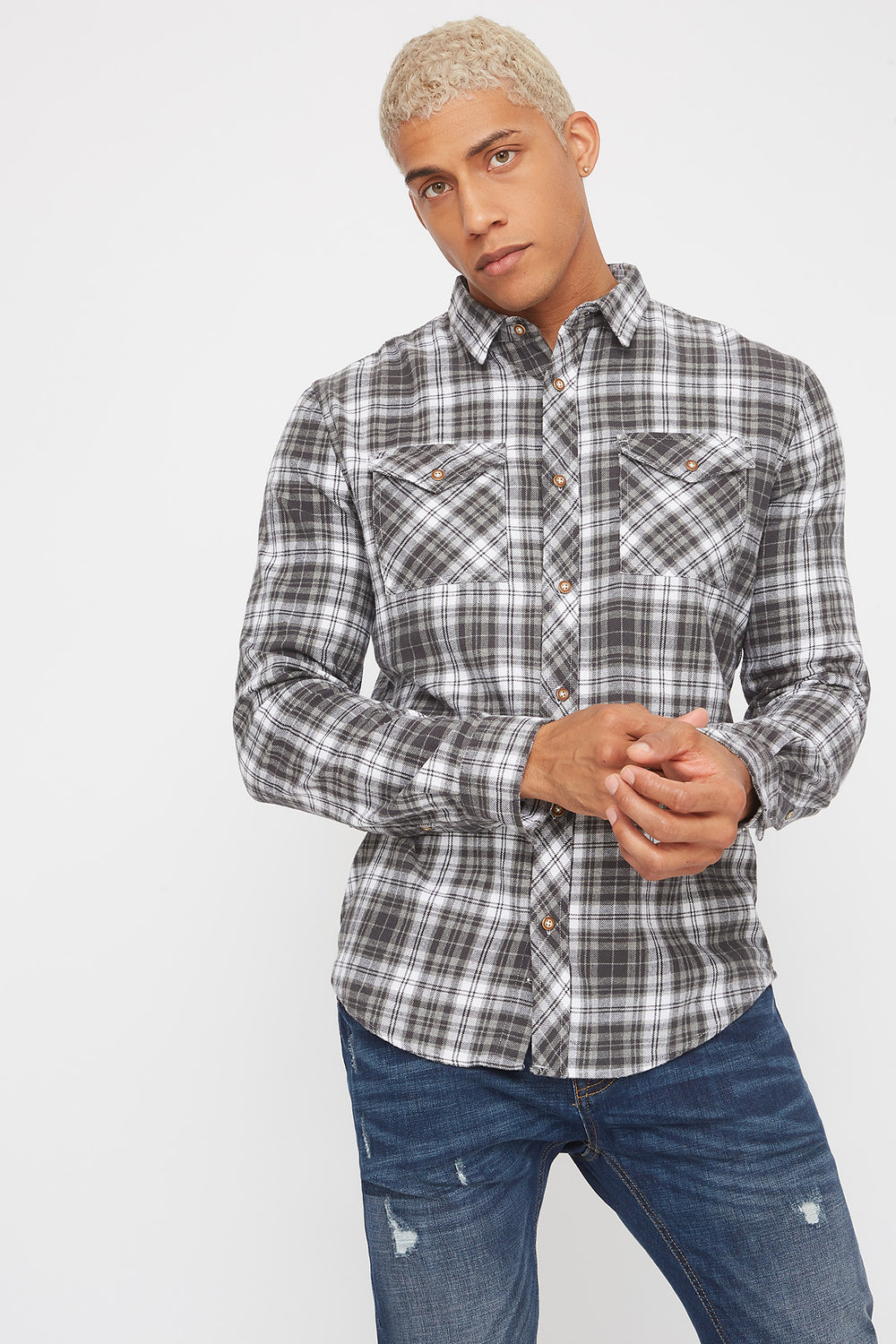 Plaid Button-Up Long Sleeve Shirt Heather Grey