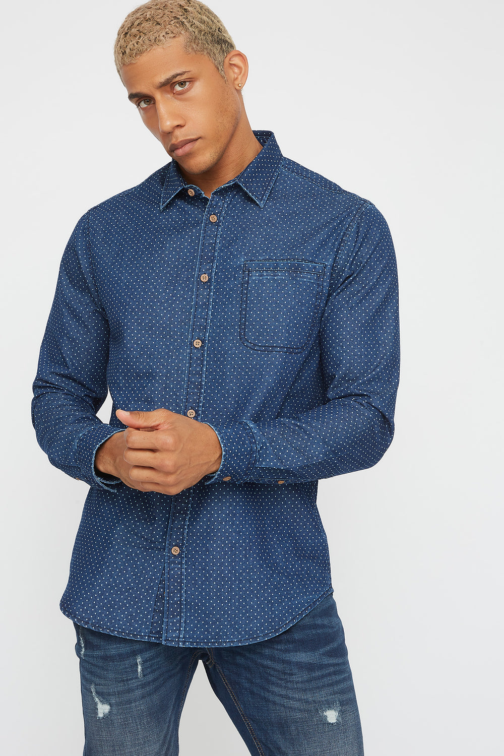 Polka-Dot Chambray Button-Up Long Sleeve Denim Blue