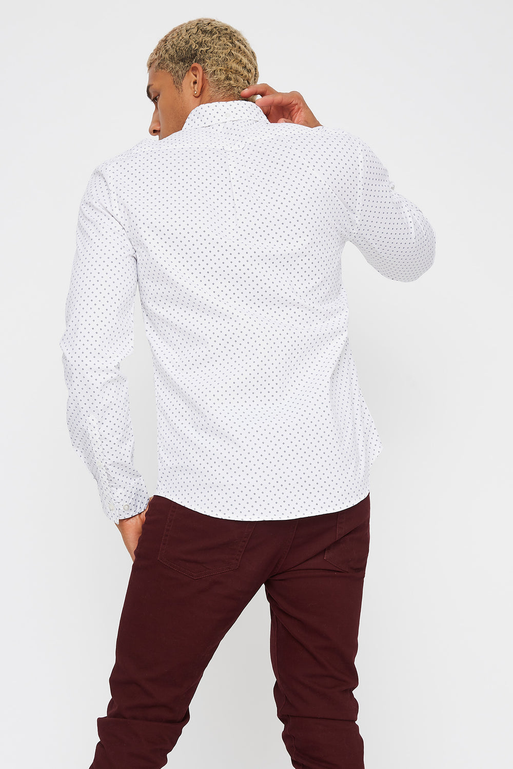 Diamond Button-Up Long Sleeve White