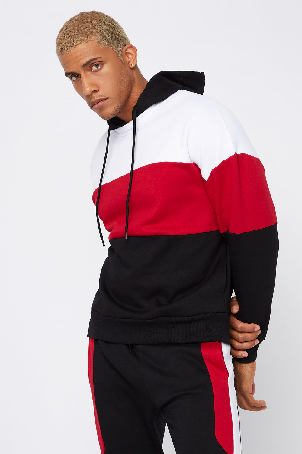 Colour Block Insert Hoodie Black
