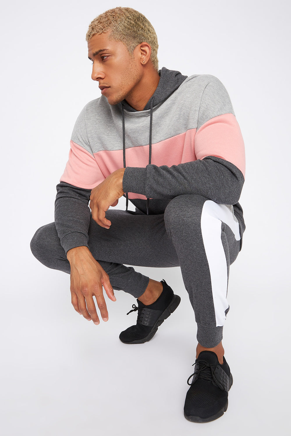 Colour Block Insert Hoodie Charcoal