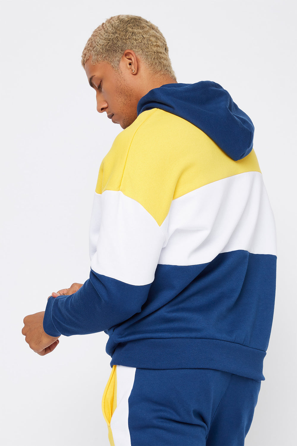 Colour Block Insert Hoodie Dark Blue