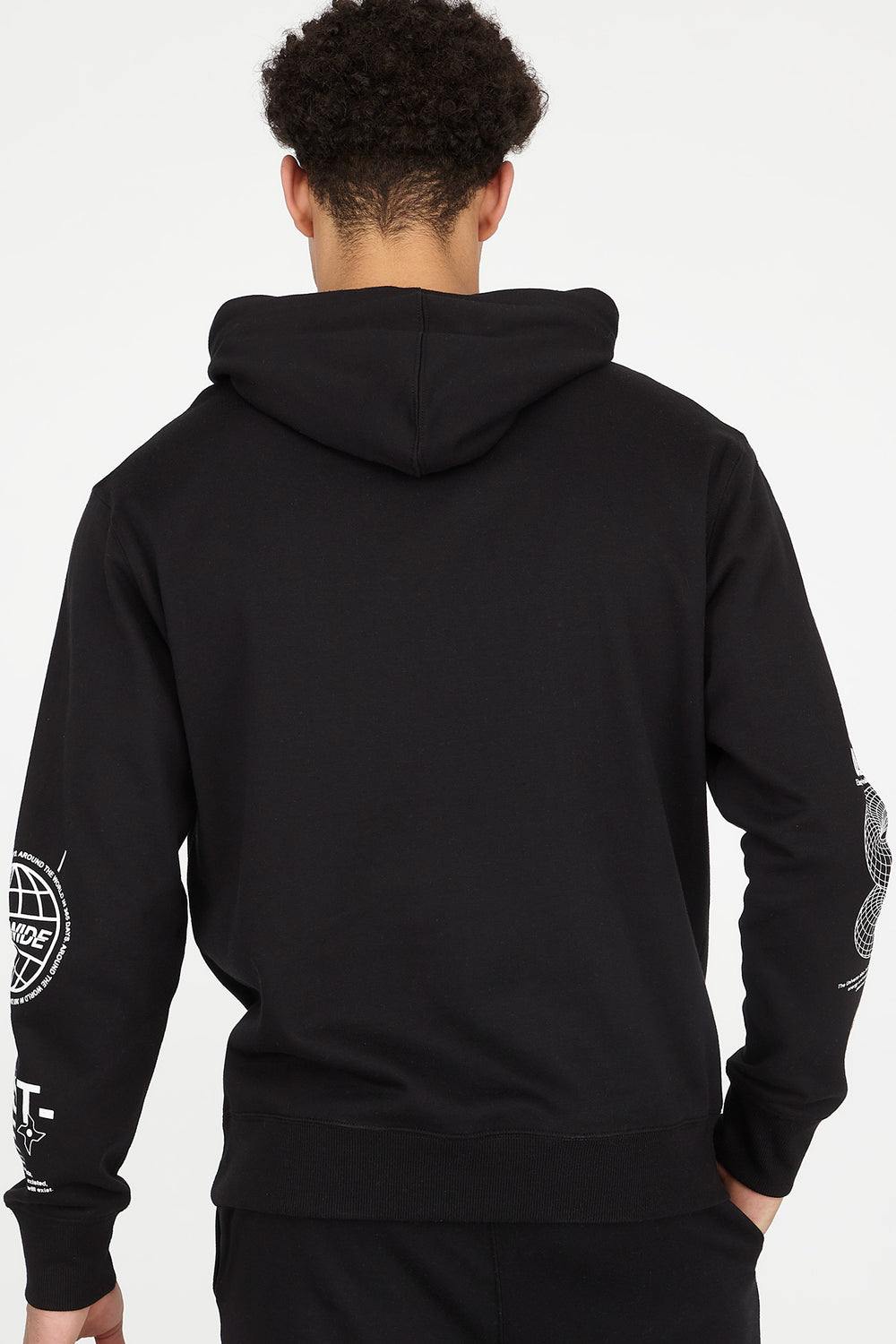 Digital Text Elements Graphic Popover Hoodie Black