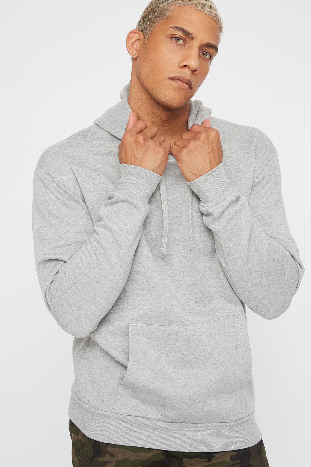Solid Basic Hoodie Heather Grey