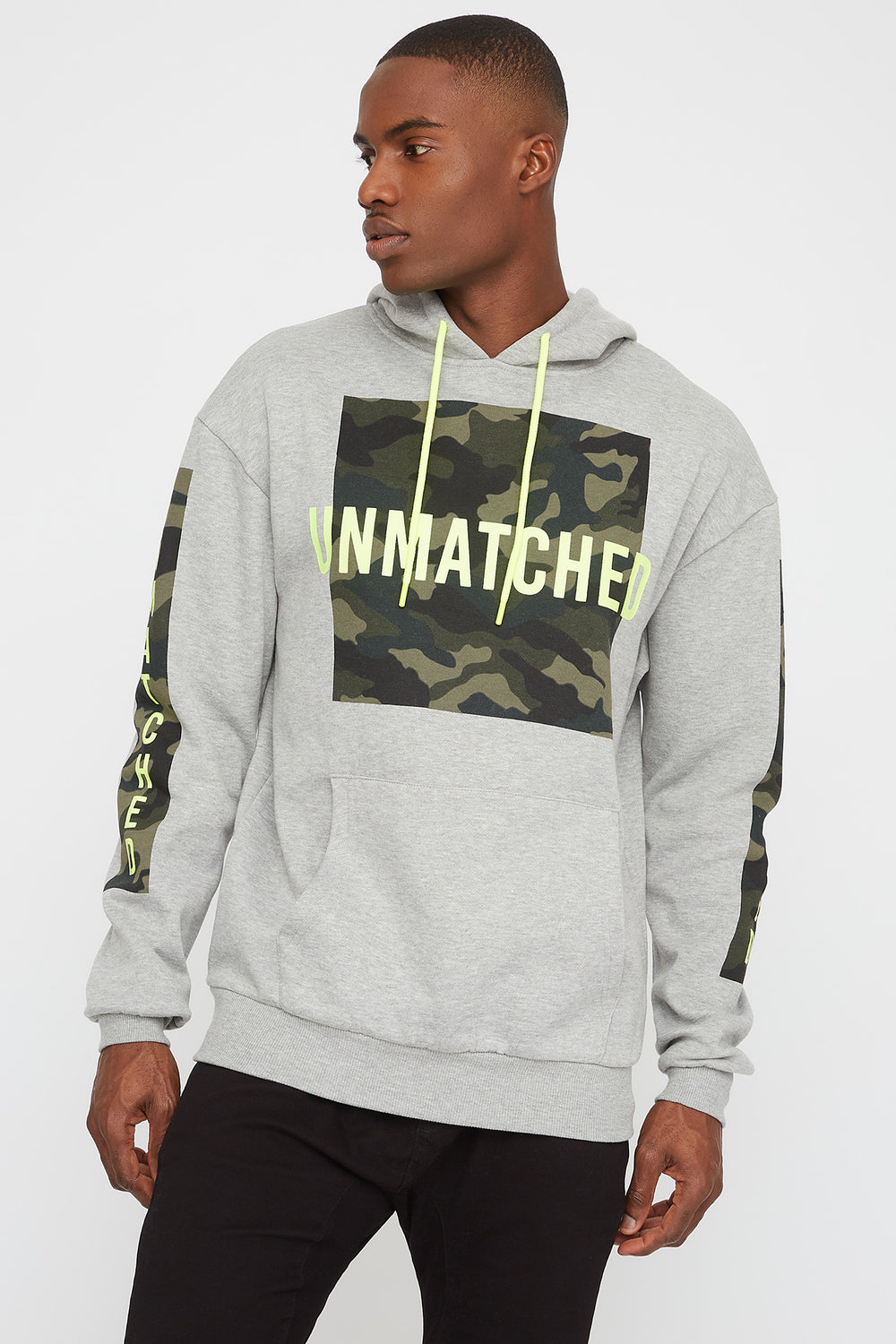 Camo Graphic Hoodie Heather Grey