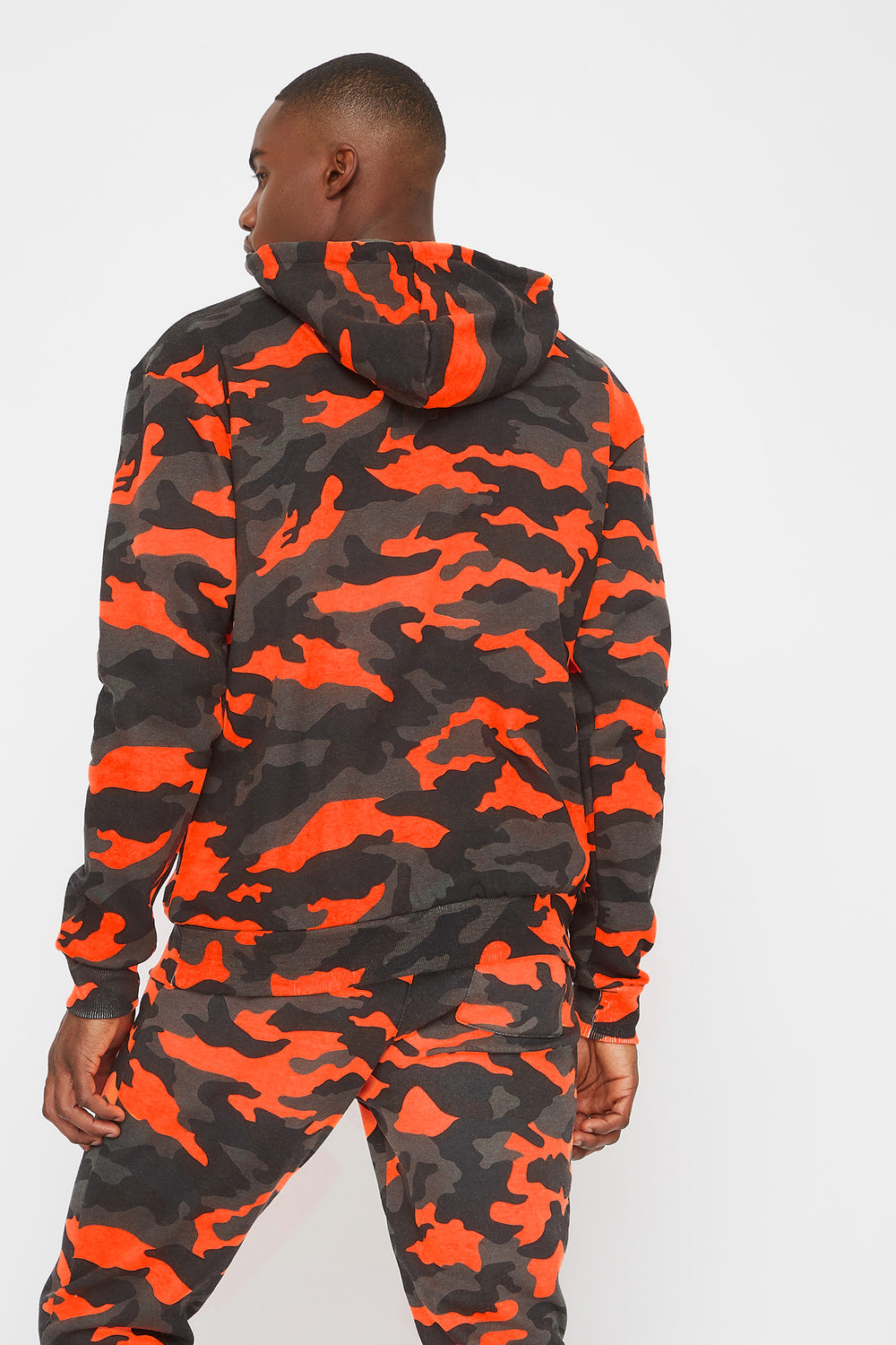 Camo Printed Hoodie Black with White