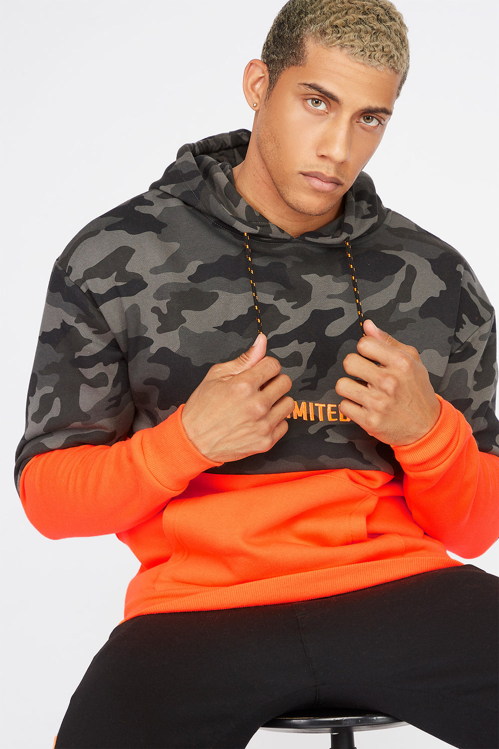 Camo Printed Neon Colour Block Hoodie Black with White