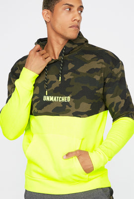 Camo Printed Neon Colour Block Hoodie