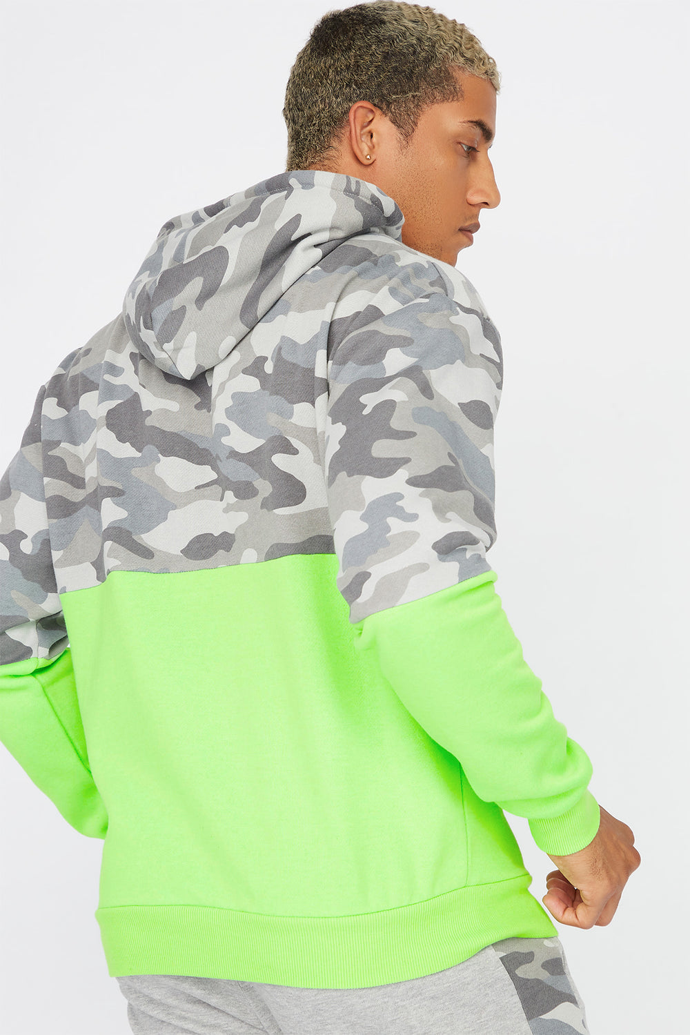 Camo Printed Neon Colour Block Hoodie Gingham