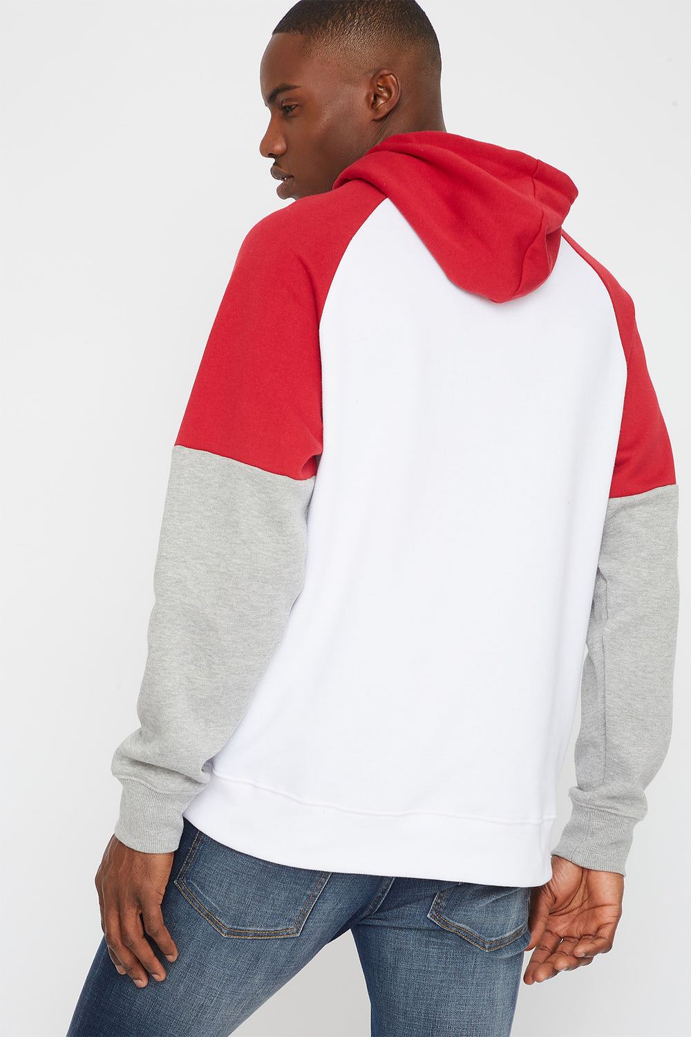 Colour Block Graphic Hoodie White