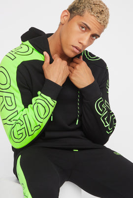 Neon Colour Block Graphic Popover Fleece Hoodie