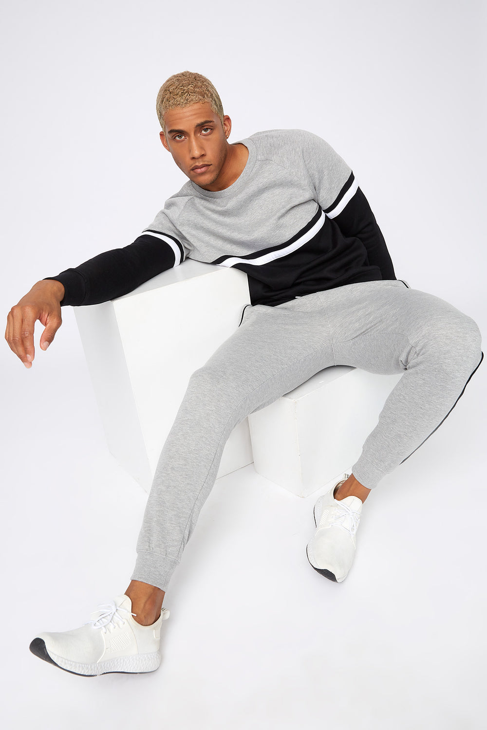 Contrast Stripe Jogger Heather Grey