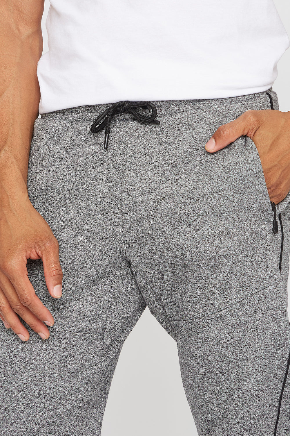 Textured Piped Classic Jogger Heather Grey