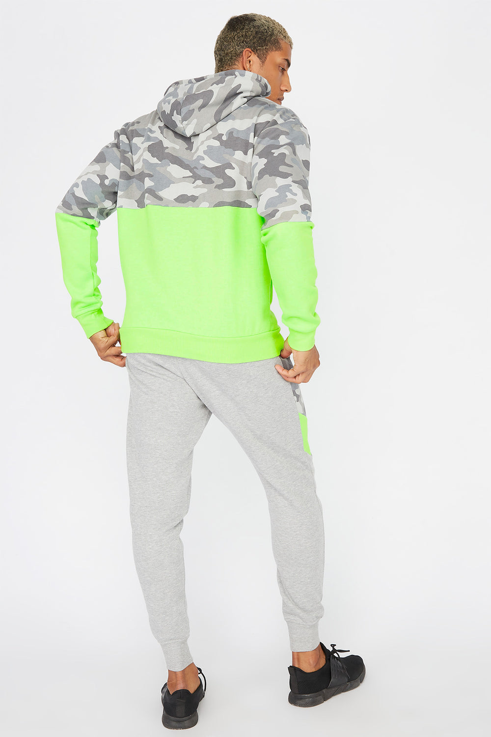 Camo Printed Neon Panel Jogger Heather Grey