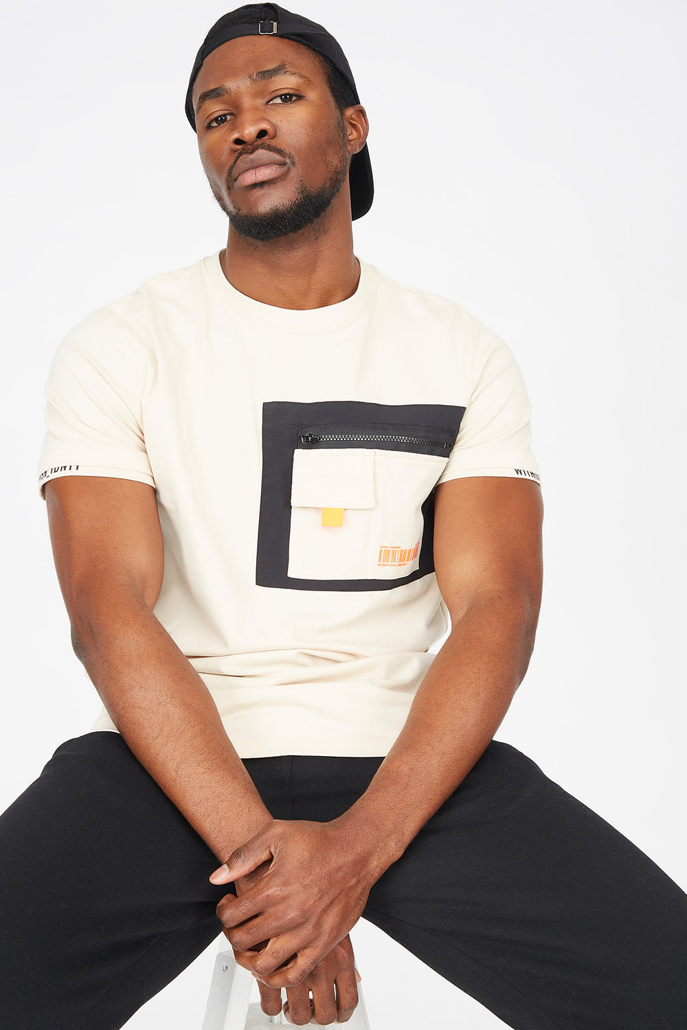 Chest Pocket Crew Neck T-Shirt Off White