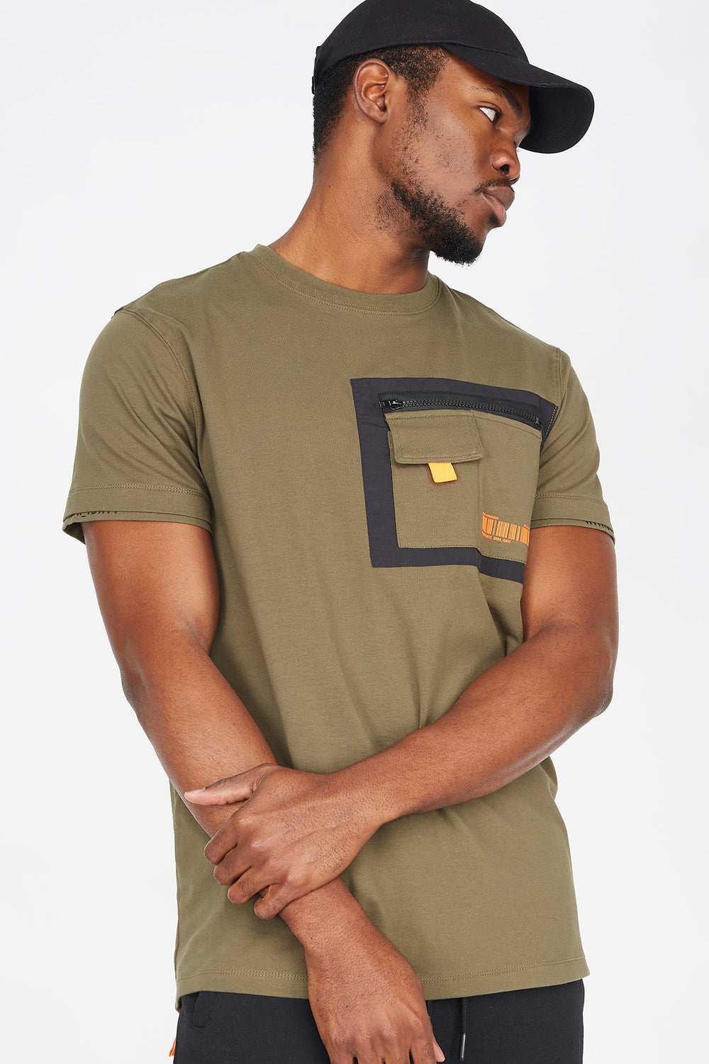 Chest Pocket Crew Neck T-Shirt Dark Green