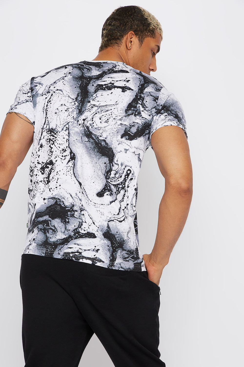 Neon Graphic Marble T-Shirt Black