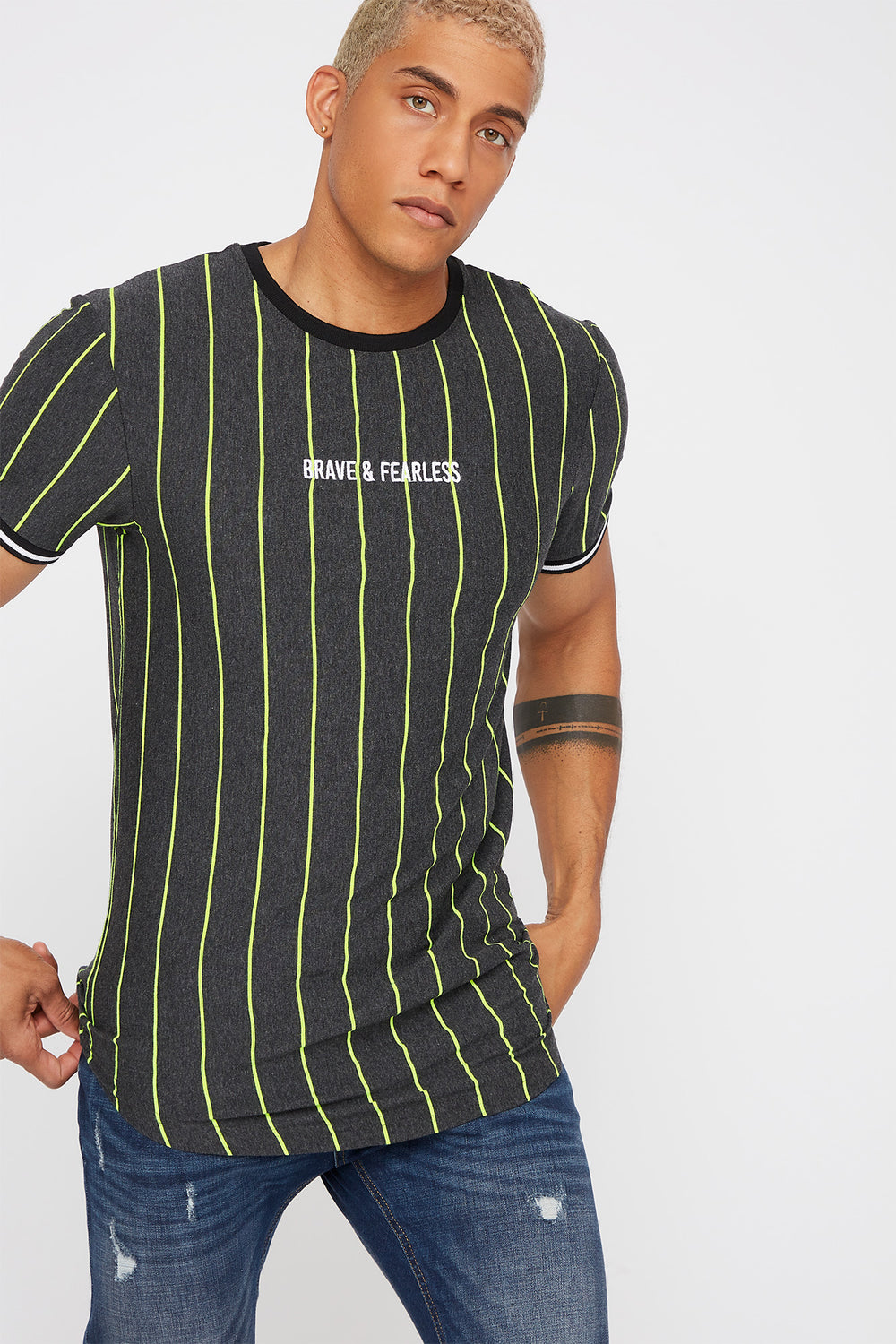 Graphic Stripe T-Shirt Charcoal