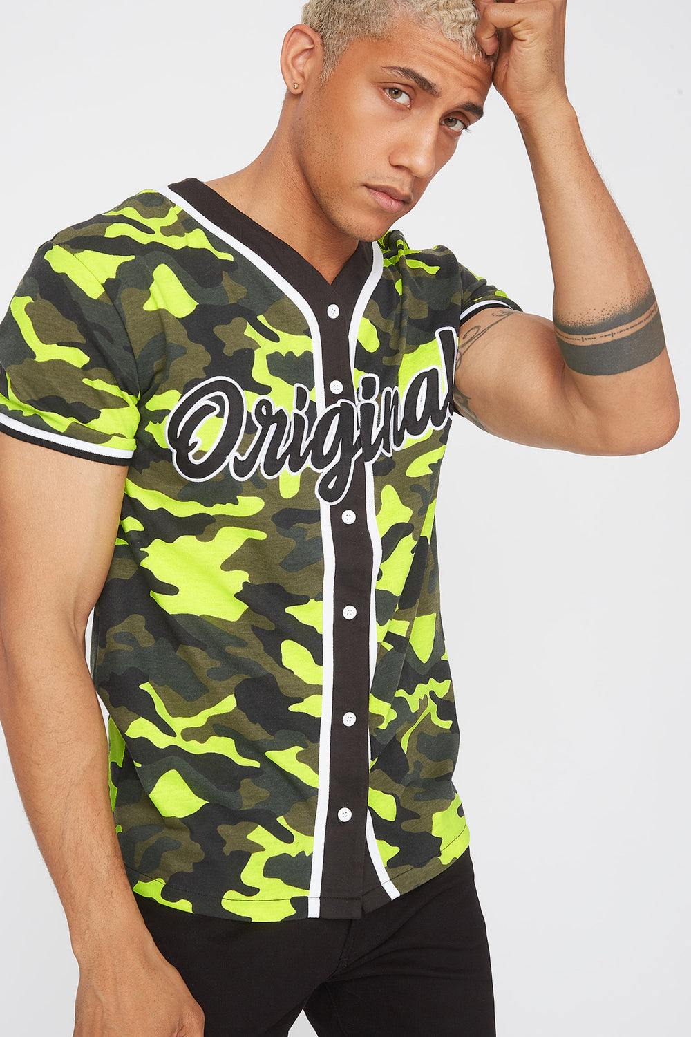 Neon Camo Graphic Embroidered Button-Up T-Shirt Neon Yellow