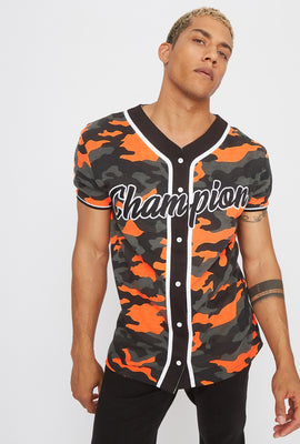 Neon Camo Graphic Embroidered Button-Up T-Shirt