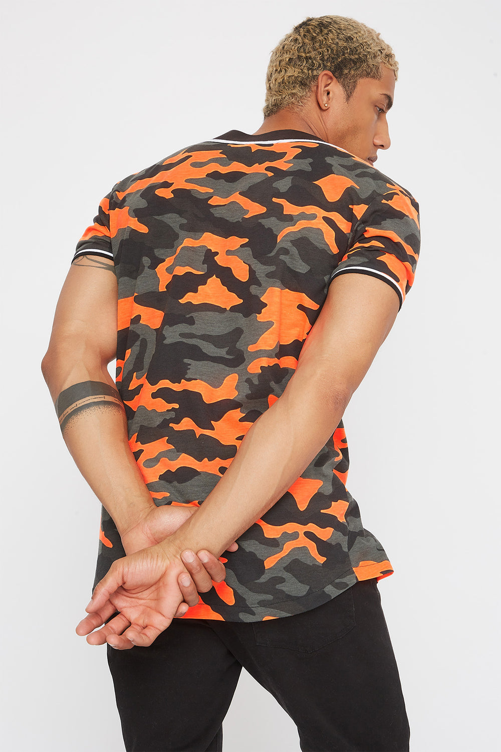 Neon Camo Graphic Embroidered Button-Up T-Shirt Neon Orange