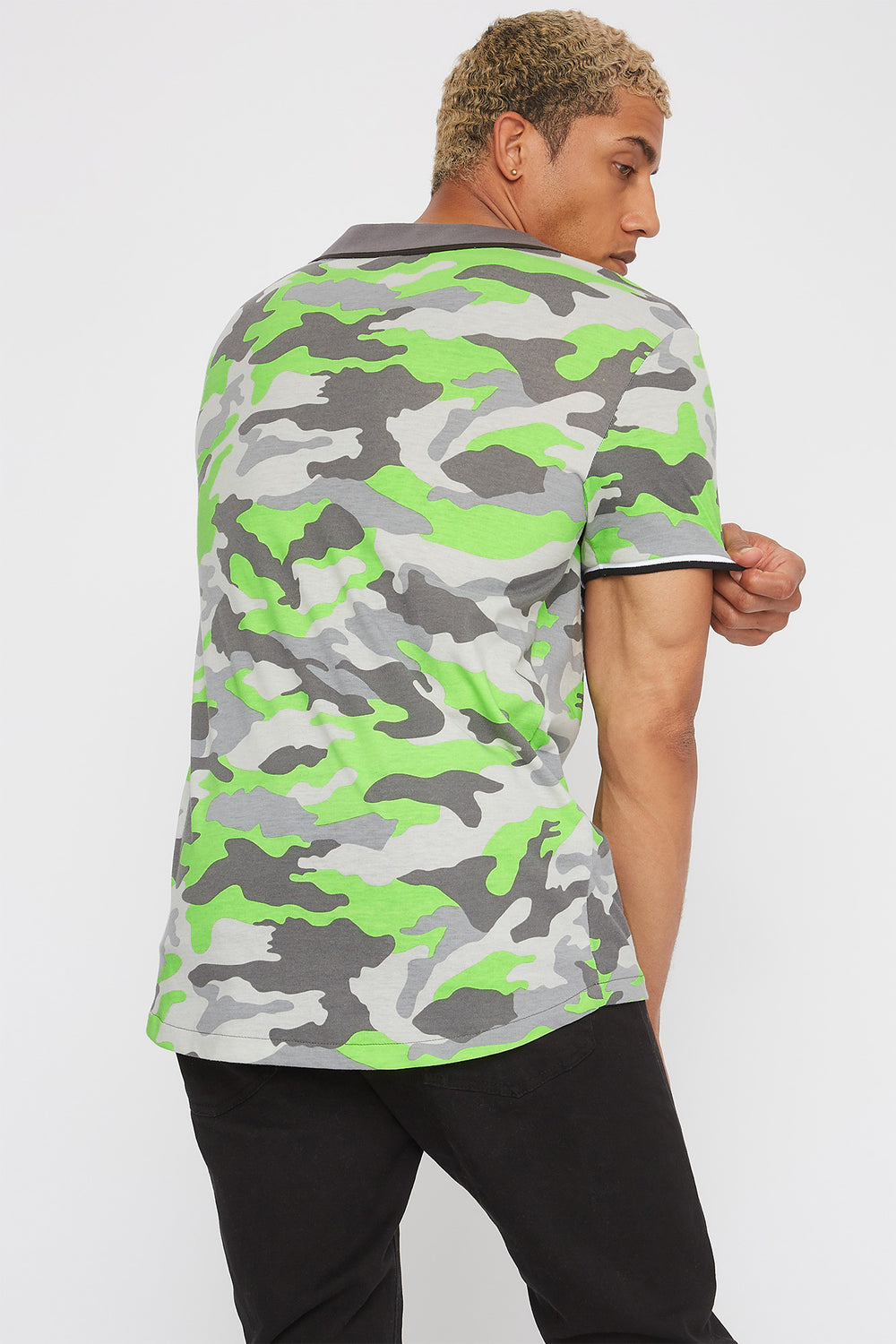 Neon Camo Graphic Embroidered Button-Up T-Shirt Neon Green